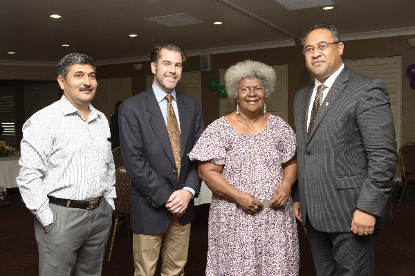 From left: Country Director of ChildFund PNG Manish Joshi; CEO of ChildFund New Zealand, Paul Brown;Ume Wainetti from the Family and Sexual Violence Action Committee; andHigh Commissioner of the New Zealand High Commission, Tony Fautua, at the hotline unveiling.
