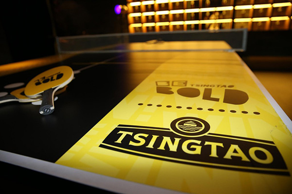 The Tsingtao-branded table tennis setup; brand activation