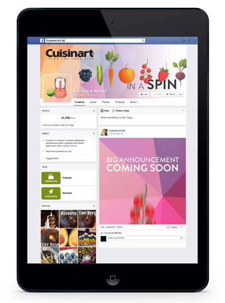 The vast colour palette introduced a refreshing vibrancy to the Cuisinart AU NZ Facebook page, reinforcing the brand persona.