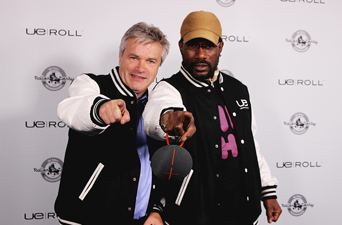 Then-General Manager of Ultimate Ears, Rory Dooley, and Event MC, Rodney O, want YOU to try the UE ROLL.