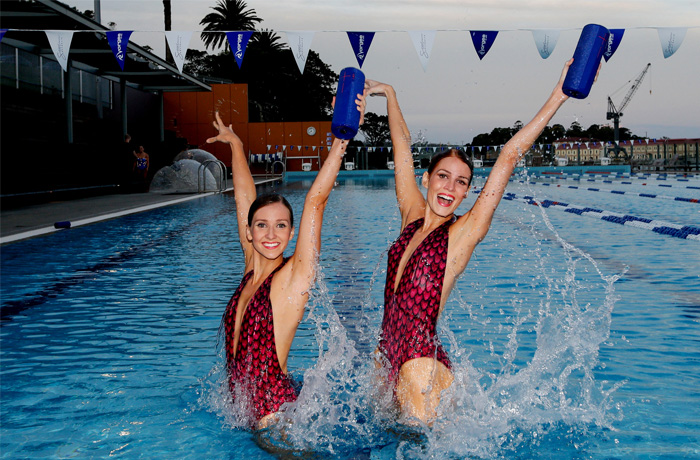 Members of the Australian Olympic Synchronised Swimming team demonstrated the UE MEGABOOM's waterproof feature.