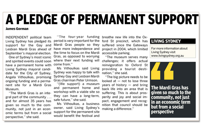 An article focusing on Living Sydney's Mardi Gras support in The Daily Telegraph.