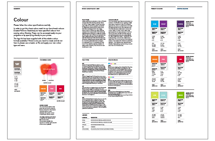 Branding agencies. The colour palette from the brand style guide.