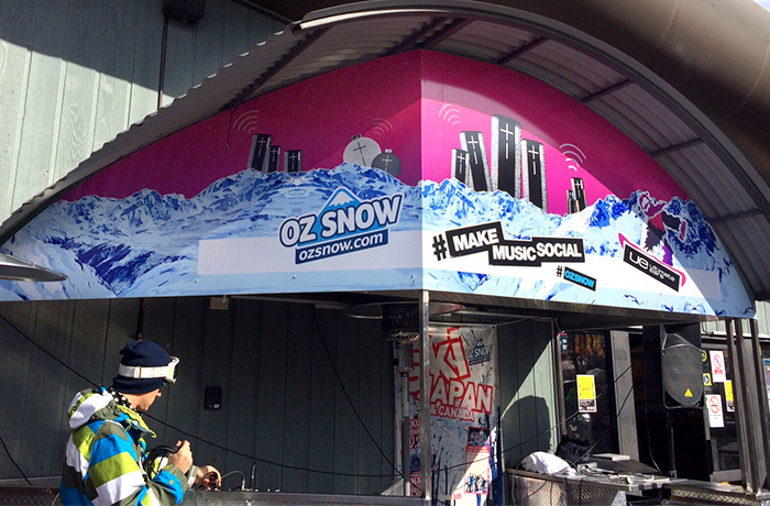 Brand and design agency. More signage, co-branded with Oz Snow.