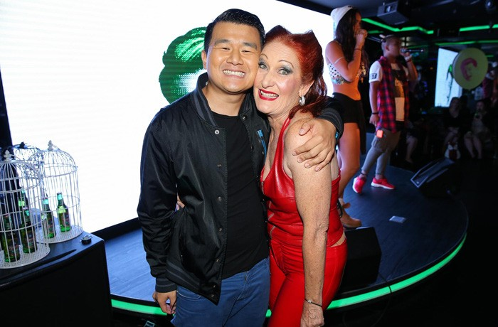 Ronny and Tsingtao's red latex-clad friend Maureen at the TBB Party.