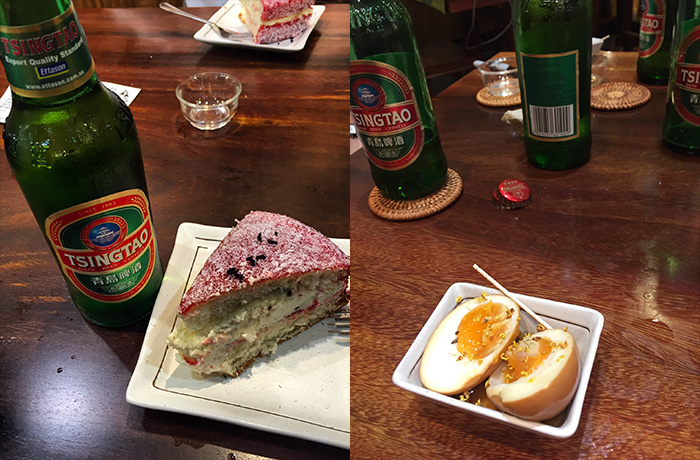 You know the best way to wash down an Ant Lamington and an Oolong Tea Egg? Why, yes, the answer IS Tsingtao!