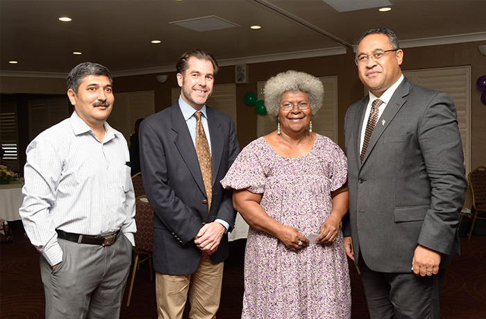 From left: Country Director of ChildFund PNG Manish Joshi; CEO of ChildFund New Zealand, Paul Brown;Ume Wainetti from the Family and Sexual Violence Action Committee; and High Commissioner of the New Zealand High Commission, Tony Fautua, at the hotline unveiling.