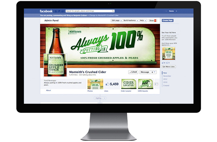 Monteith's 'Always Putting in 100%' Facebook assets.
