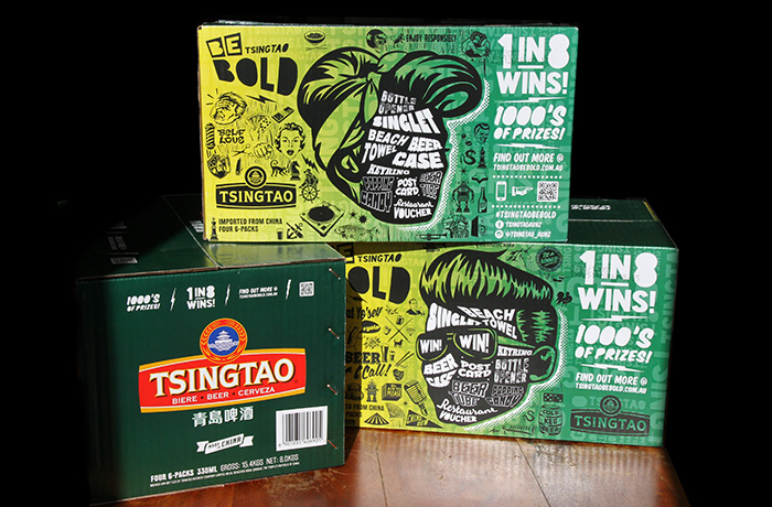 Branding design agency. The redesigned Tsingtao beer case for the Summer Campaign.