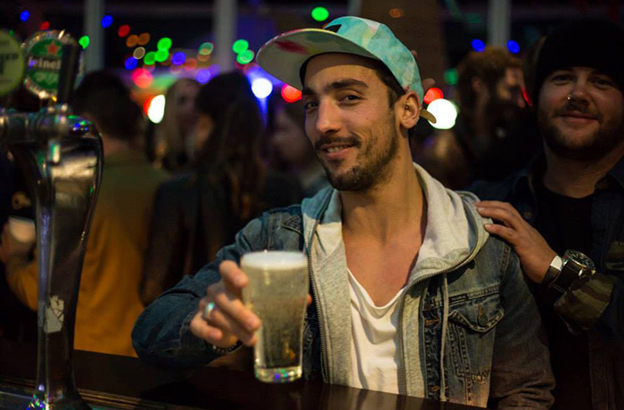 Monteith's 100 Club Winner, Pedro, at his party at The Bucket List, Bondi.