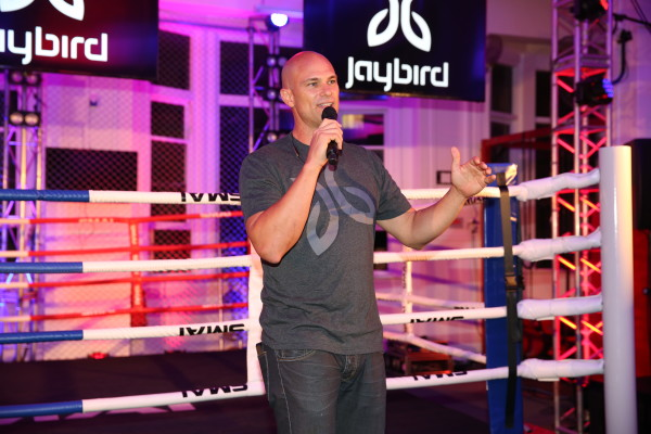 Jaybird Founder Judd Armstrong tells the brand story to a crowd of 200+ guests.